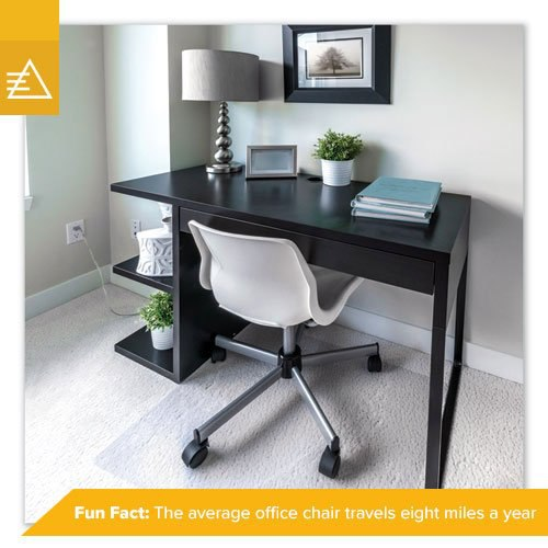 A white office chair on a clear gripped mat to protect the white carpet beneath.