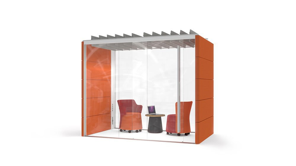 OrangeBox collaborative system is a small glass room with interior seating for private meetings in an open concept space.