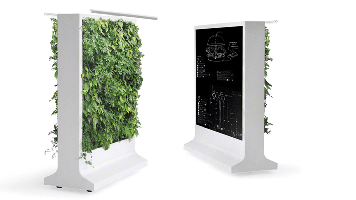 Two biophilia walls. One has both sides covered in greenery while the other has a chalkboard on the opposing side.