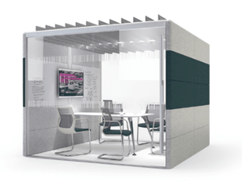 An enclosed workspace for private group meetings and collaboration.